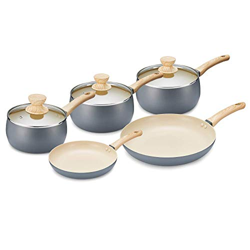 Tower Scandi Induction Pots and Pans Set, Non Stick, Soft Touch Wood Effect...