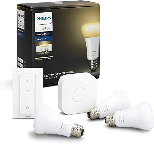 Philips Hue Kit de démarrage 3 ampoules White Ambiance E27 + pont de connexion et télécommande Hue incluse (Nouveau) 8718696728925