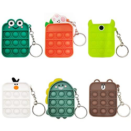 6 Pcs Mini Pop Fidget Simple Dimple Toy,Mini Push Pop Fidget Toy Keychain,Mini Animal Tie dye Bubble...