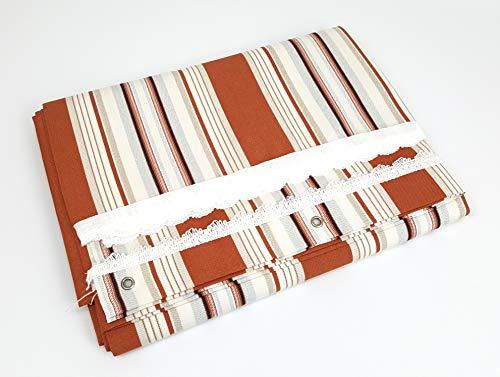 Viglietti - Rideau de soleil à rayures pour balcon, véranda ou terrasse avec anneaux et crochets en tissu résistant pour extérieur, dimensions 140 x 300 cm, couleur beige