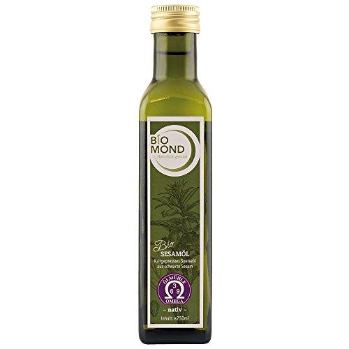 BIO Sesamöl Schwarzer Sesam von BIOMOND, 250 ml / aus schwarzem Sesam / frisch gepresst / ungefiltert / Rohkostqualität