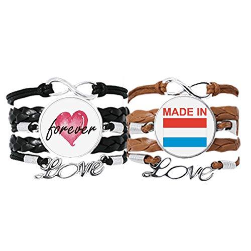 Bestchong Hecho en Luxemburgo Country Love Pulsera Correa de mano Cuerda de cuero Forever Love Wristband Set doble