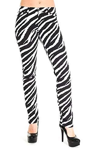 Herren Röhren Jeans Weiß Zebramuster Punk-Rock Glam Indie Retro Vintage 28 30 32 34 36 - weiß und schwarz, 34