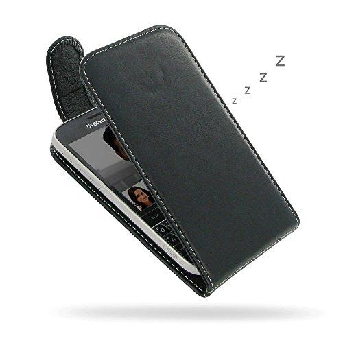 PDair BlackBerry Classic Leder Flip Tasche, [Echt Weiches Leder] Folio Magnetverschluss Tasche | Luxus Deluxe Leder Flip Top Hülle für BlackBerry Classic