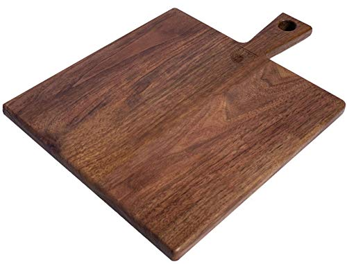 Organic Black Walnut Wood Cheese Board with Handle Cutter by Walux 11 x 11 Pizza Peel Pizza Paddle Charcuterie Platter Cheese Board Rustic Paddle for Baking Pizza Bread Cake Fruits