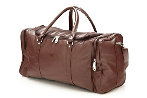 Mboss Leather 53.34 cms Brown Travel Duffle (TB 001 Brown Single)
