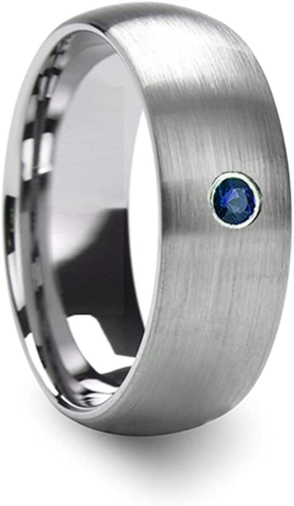 Mens Comfort Fit -Domed Brushed Tungsten Wedding Ring - Blue Diamond Center- 6mm 8mm Wide - Style Name: MELANTHIOS