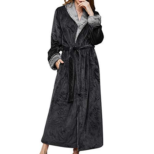 HUANGRONG Winter Bademantel Frauen Männer Thermal Luxus Flanell Extra Lange Bad Robe Winter Sexy Grid Pelz Bademantel Warme Kimono Dressing Kleid Roben (Color : Black, Size : XL)