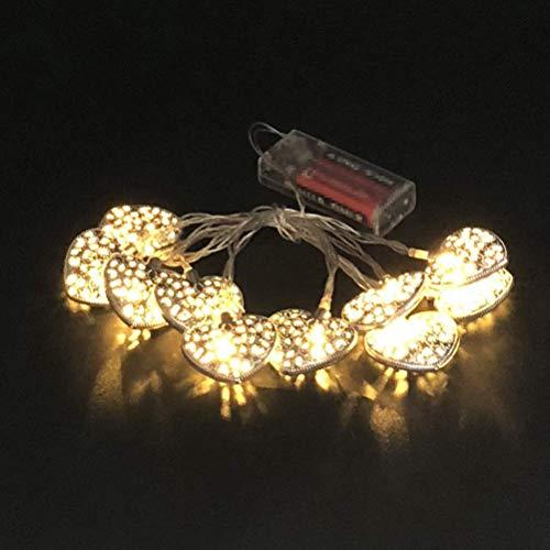 WYDM Guirnalda de Luces LED, Cuerda de luz Hueca en Forma de corazón, Guirnalda de Luces marroquíes para decoración de Fiesta de cumpleaños de Boda (3 m 20 LED