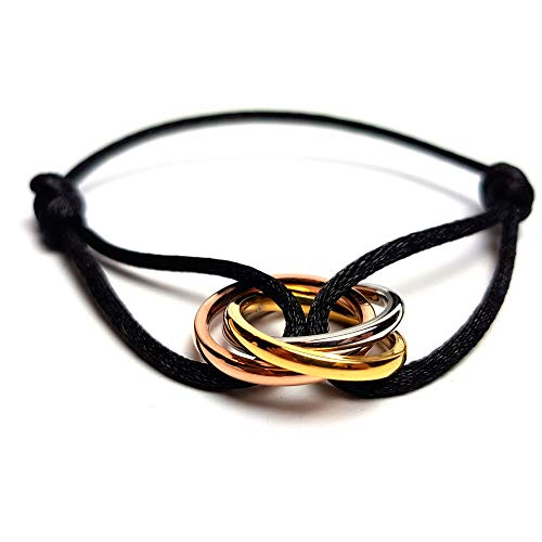 I love you Trinity Armband Frauen schwarz golden Tricolor Triple Ring dreifach