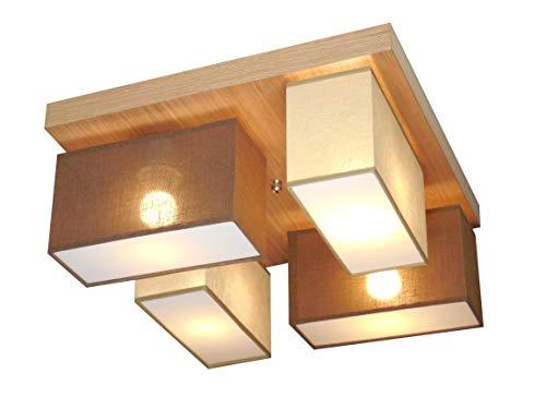 Plafonnier Wero Design Vitoria-001/N (Beige/blanc) – Lustre en chêne – Lampe de plafond, abat-jour, 4 ampoules, bois, lampe en forme de tête de champignon Beige/Braun Tr