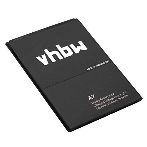vhbw Akku passend für Blackview A7, A7 Pro Handy Smartphone - (Li-Polymer, 2800mAh, 3.8V) - Batterie Ersatzakku Telefon Zubehör