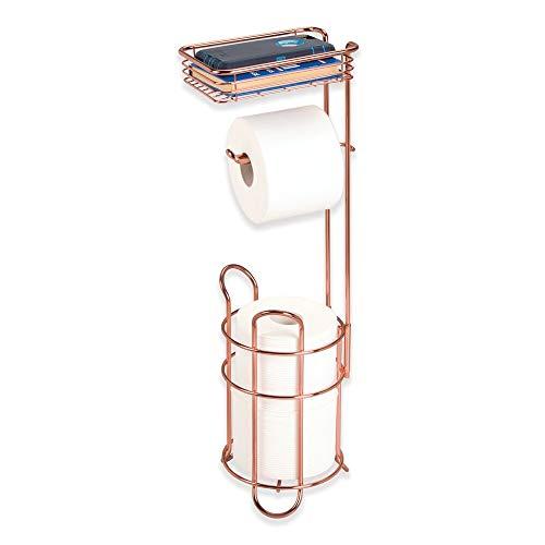 mDesign porte papier toilette sur pied – dérouleur papier wc avec une surface de rangement pour les lingettes – distributeur papier toilette en métal – doré/rouge