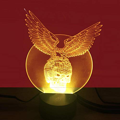 Eagle Skull Buntes 3D-Nachtlicht USB-Schnittstelle visuelles Licht Touch Art Light-12 Farben berühren