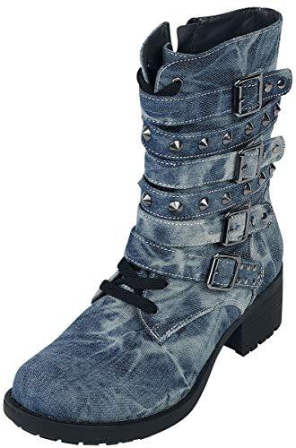 Rock Rebel by EMP Stiefel in Jeansoptik mit Nieten Rock Rebel Frauen Boot blau EU38