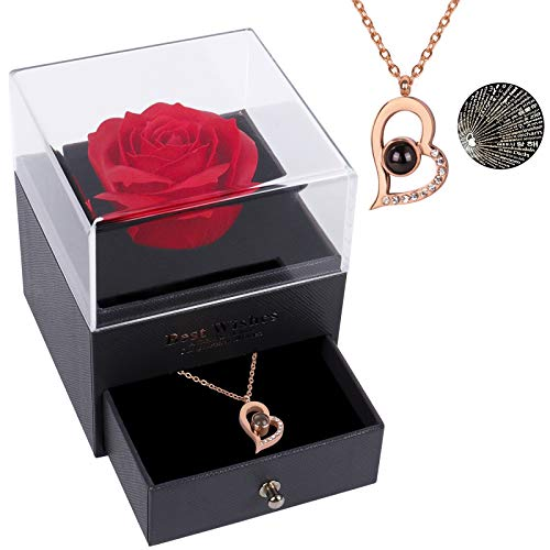 Beferr Infinity Rosen mit Ich Liebe Dich Halskette 100 Sprachen, Ewige Rose Schmuck Geschenk Box für Sie Freundin Mutter Frau Frauen Am Valentinstag Jubiläum Muttertag Geburtstag Weihnachten
