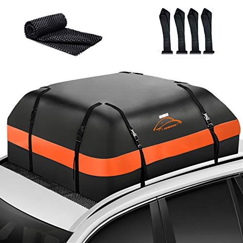 ISWEES Car Top Bag Rooftop Vehicle Cargo Carriers Roofbag Vehicle Truck Automotive Waterproof Rooftop Luggage Storage Bag, for All Vehicle with Without Rack SUV Jeep Subaru Toyota (Orange+Black)