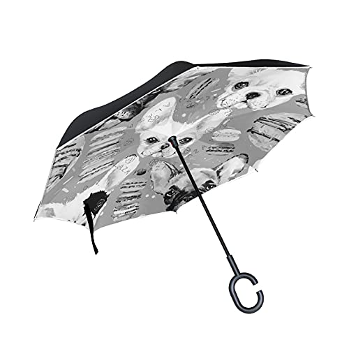 Oyihfvs French Bulldog Donuts Seamless Large Inverted Umbrella, Rain Reverse Sun Parasol, Strong Double Layer Car Umbrella with UV Protection Upside Down with C-Shaped Handle