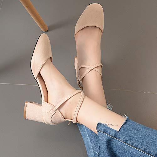 Shukun Dames sandalen Lente Dik Met Baotou Romeinse Schoenen Met Bandjes Enkele Schoenen Retro Suede Sandalen Women'S Oma Schoenen