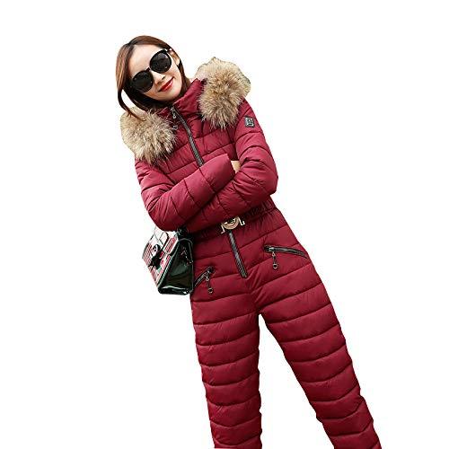 DNJKH Mujeres Mono de esquí de Invierno Traje de Nieve para Deportes al Aire Libre Conjunto de Chaquetas y Pantalones Señoras Monos de una Pieza,Red 2,M