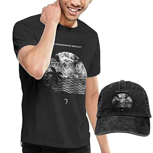 T-Shirts The Neighbourhood Wiped out and I Love You Camiseta de Manga Corta para Hombre y Sombrero de Vaquero Lavado para Adultos, Camiseta Informal Deportiva Negra de Moda + Sombrero de