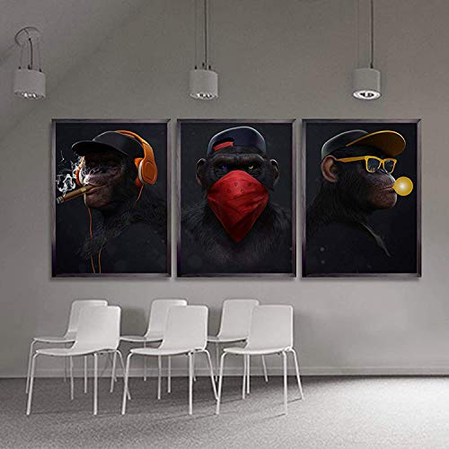 Large Abstract Animal Fashion Funny Three Wise Swag Monkeys//Living Room Office Home Decor Wall Paintings Creative 20x40cmx3 Unframed