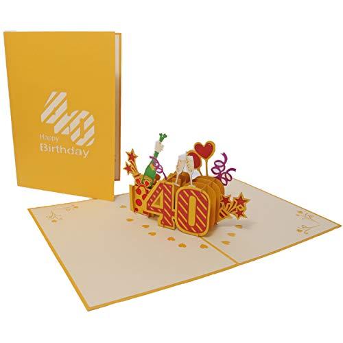 Favour Pop Up - Tarjeta de felicitación para 40 cumpleaños con portada en color dorado, ideal también para regalar dinero o vales TG040