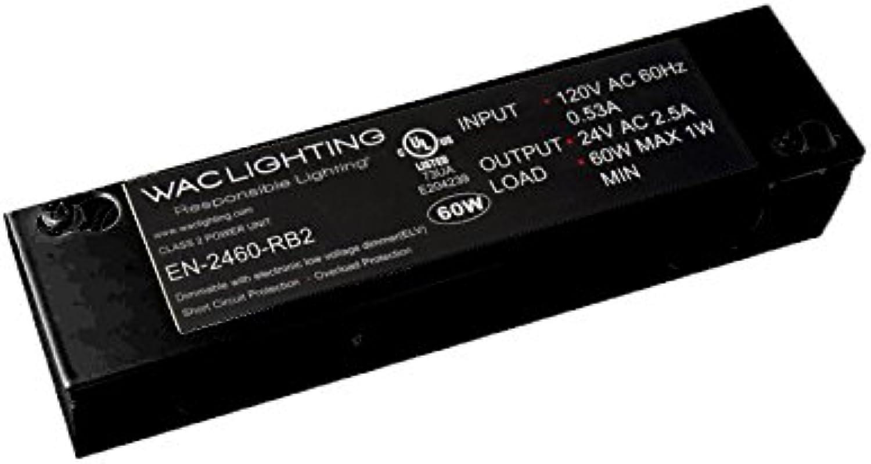 WAC Lighting EN-2460-RB2 120V Input 24V Output 60W Remote Enclosed Electronic Transformer, Black