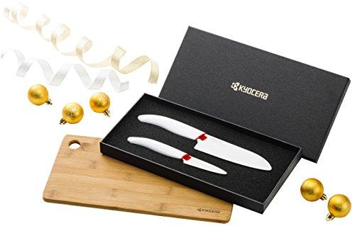 Kyocera COF BAMBOU PROMO Bambus Messerblock-Set mit 2 Messer, weisse Keramikklinge und eine Schneidunterlage