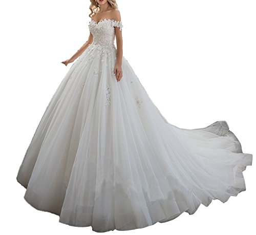 Tianshikeer Hochzeitskleider Damen Prinzessin Spitze Tüll Herzausschnitt Lang Vintage A-Linie Brautkleider