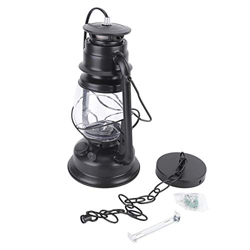 Lampadario a LED a Forma di Lanterna a Cavallo, Confortevole Lampada a Sospensione a LED in Ferro Cherosene a LED, Soggiorno in Stile Vintage, Ristorante da Campeggio per Esterni Black Simple