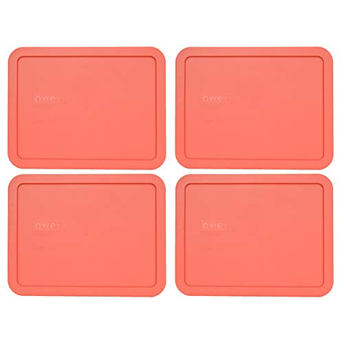 Pyrex 7211-PC 6 Cup Coral Rectangle Plastic Food Storage Lid - 4 Pack