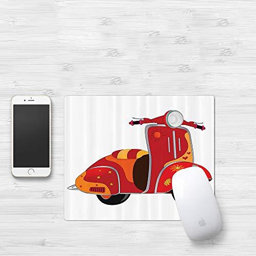Comfortable Mouse Pad 320x250 mm,Vintage Set, Motor Scooter Caricatura clásica para hipp,Gaming Matte superficie lisa para ratón de goma antideslizantes con Designs para gamer y Office trabajo