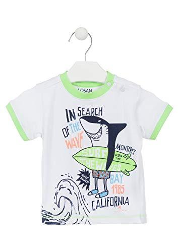 losan Camiseta de algodón de Color Blanco con Estampado surfero para bebé niño 917-1016