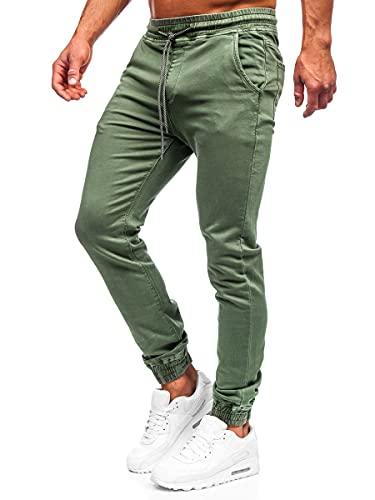 BOLF Uomo Pantaloni Jeans Jogger Denim Coulisse Elasticizzati Tempo Libero Gamba Stretta Slim Fit Casual Style KA1219 Verde M [6F6]