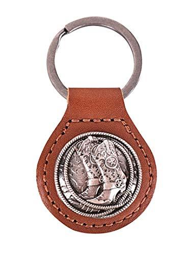 Westernlifestyle Schlüsselanhänger Schlüsselring aus Leder mit Concho Cowboystiefel und Lasso (Hellbraun)