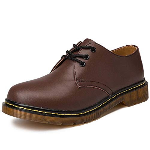 Brand Mens Shoes Genuine Leather Handmade Luxury Mens Oxfords Casual Shoes Men Work Shoes Large Size Flats Brown 8.5