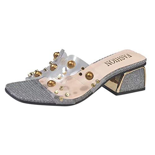 TIFIY Pantolette Damen,Sommer Badeschuhe Transparente Strass Peep-Toe Dicke Bürosandalen Bohemian Flip Flops Schuhe(Silber,EU 35)