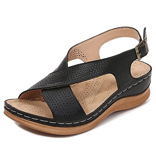 WNRGD Sandalias De Verano para Mujer Transpirables Y Absorbentes del Sudor Zapatos De Deslizamiento De Tacón De Cuña con Forro De Cuero para Mujer,3,CN 35