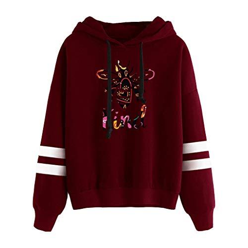 ReooLy Suéter con Capucha de Manga Larga con Bloques de Color y Barras paralelas con Estampado de Abejas Ladies(K-Vino,M)