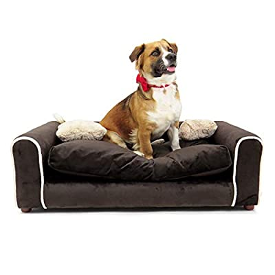 Moots Sofa Furry Pet Bed, Chocolate, Large (FUR008L)