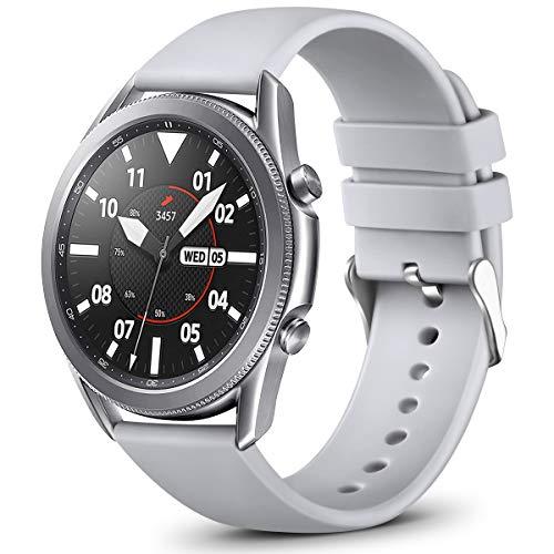 Vobafe 22mm Correa QuickFit Compatible con Garmin Vivoactive 4/Samsung Galaxy Watch 46mm/Watch 3 45mm, Correa Deportivo de Silicona para Garmin Fenix 5/5 Plus/Fenix 6/6 Pro, Grande Gris