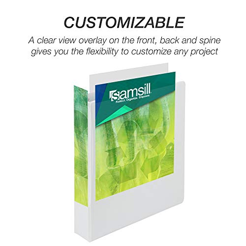 Samsill Earth's Choice Biobased Durable 3 Ring View Binder, 1.5 Inch Round Ring, Up to 25% Plant Based Plastic, USDA Certified Biobased, Eco-Friendly, Customizable Cover, White, 4 Pack (I08957) Photo #4