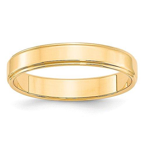 DIAMOND2DEAL INC Alianza de Boda de Oro Amarillo de 14 Quilates, 4 mm, Plano con Borde de escalón, tamaño 14
