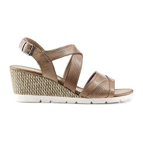 DRIEVHOLT Damen Keil-Sandalette in Beige, modische Absatz-Sandale im raffinierten Design aus Leder Beige Leder 39