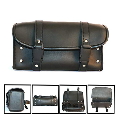 Motorcycle Tool Bag PU Leather Saddle Bag with Quick Release Buckles Storage Buttons Model