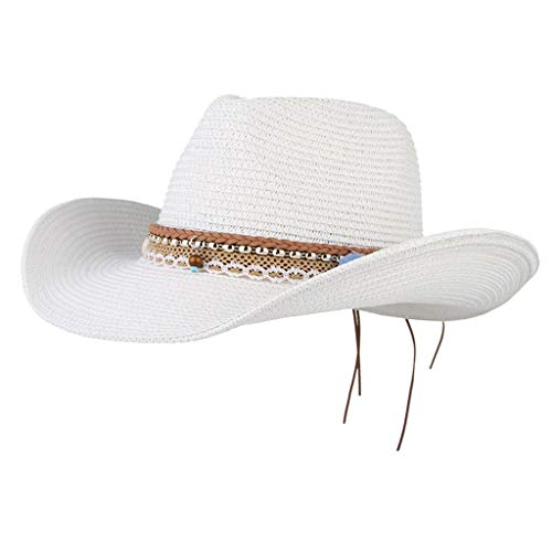 B Baosity Stroh Sonnenhut Damen Strohhut UV Schutz Strandhut Sommerhut mit groß krempe Partyhut - Weiß