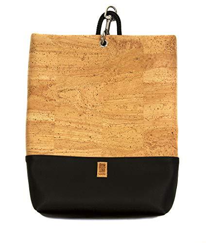HENTIES Ylva Designer Rucksacktasche – Damen Handtasche aus Kork als Rucksack tragbar – Handmade in Deutschland und 100% Vegan (Black)
