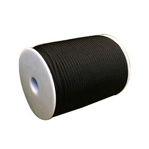 WedDecor 3mm Large Nylon Tressé Cordon pour Aluminium Store Abat-Jour, Jardinage Plante et Loisirs Créatifs,Embrayage Faisant,Réparation Nuances,5 Mètres Long, Noir - Noir, 50 Metres