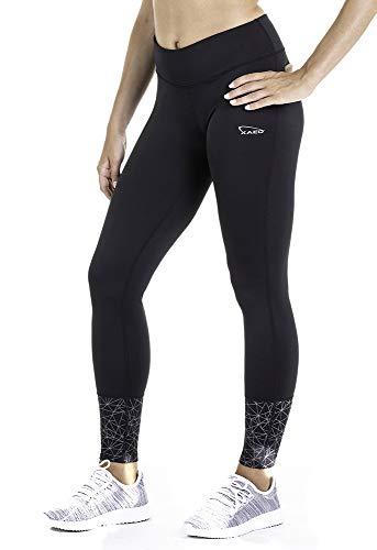 XAED - Pantalón largo de running para mujer (negro, mediano)